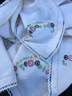 """Vintage Embroidered Table Cloth. 40"""" Square. Vibrant Stitching"""