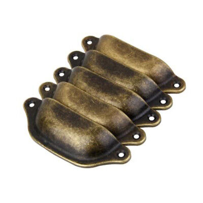 10 X Shell Shaped Antique Brass Cabinet Drawer Bin Door Handle Cup Pull Knob