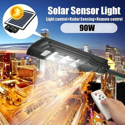 Solar Wall Street Light 60/90W LED Induction PIR Motion Radar Lamp With Pole RC