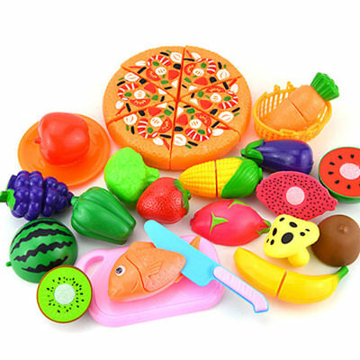 24pcs Kids Toy Pretend Role Play Kitchen Fruit Vegetable Cake Food Cutting Sets