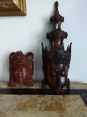 Lot of 2 Hand Carved Wood Buddha? Faces Masks