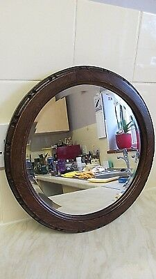 Victorian Carved Oak Circular Mirror