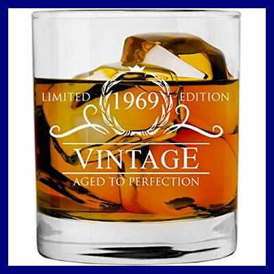 1969 50Th Birthday Gifts For Women Men Whiskey Glass Funny Vintage 50 Year Old