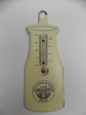 Antique H.P. Hood & Sons tin advertising milk thermometer bottle vintage WORKING