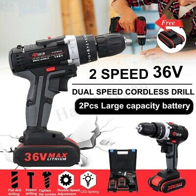 3In1 36V Cordless Drill Hammer Electric 2-Speed 25 Torque LED + 2 Li-ion Battery
