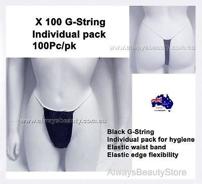 100Pk BLACK Disposable G String Knickers Spray Tanning Waxing Brazilians Spa
