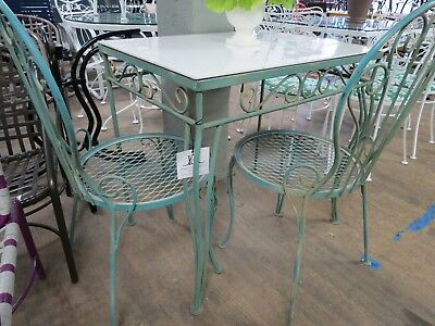 Woodard Vintage Wrought Iron Breakfast table/desk & 2 chairs Original cond