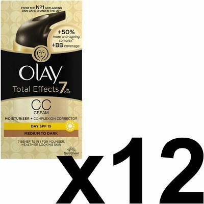 12 Olay Total Effects Color Corrección Crema Hidratante Spf 15 Medium2Dark 50ml