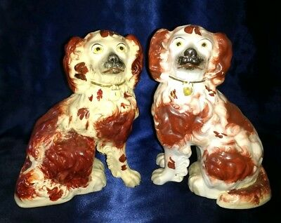 Pair of Antique Victorian Staffordshire Dogs Spaniels