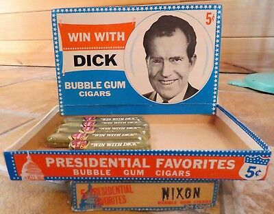 "Vintage 1968 President NIXON ""WIN WITH DICK"" Bubble Gum Cigars Store Display Box"