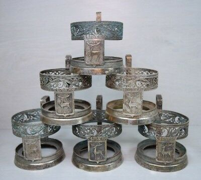 Vintage 6 Russian Filigree GORKY Podstakannik Tea Cup Glass Holders Glasses