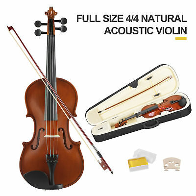 Full Size 4/4 Acoustic Violin Beginner Set with Case,Bow,Rosin & Chin Rest