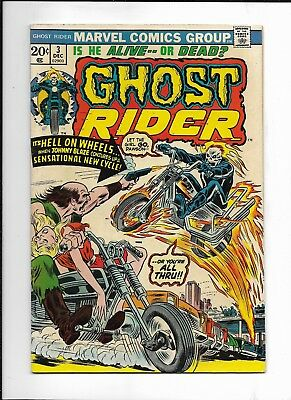 Ghost Rider #3 ( Marvel Dec,1973 ) 1st Flame Cycle Fn