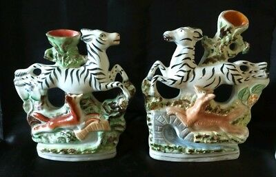 Pair of Antique Victorian Staffordshire Zebra & Fox Spill Vases
