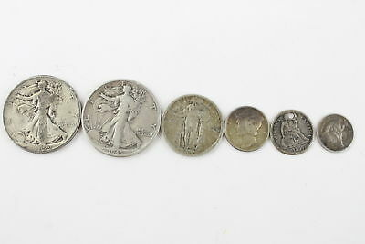 6 x Circulated USA 90% SILVER COINS Mixed Denominations inc Seated Liberty (37g)