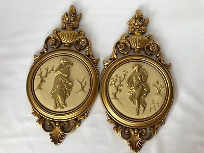 Syroco Homco Wall Plaques Ancient Greek Goddess #4056 Pair 2 Vintage