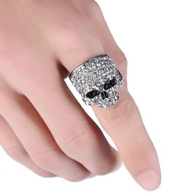 Skull Ring Crystal Gold Silver Black Rock Punk Men Biker Jewelries Accessories
