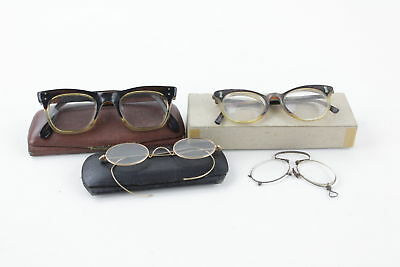 4 x Assorted Antique / Vintage SPECTACLES Inc. Rolled Gold, Cased