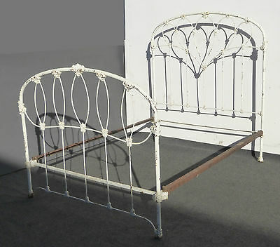Antique Iron Bed French Country Cottage White Full Headboard & Farmhouse Chic