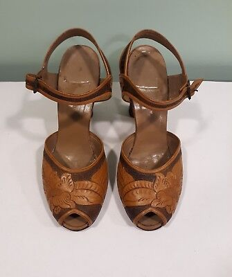Hand Tooled Leather Shoes Sandals Pumps Ladys Womans size 6.5 6.5A