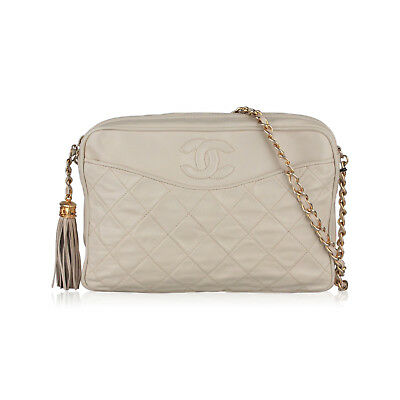 facdd5133fad Authentic Chanel Vintage Ivory Quilted Leather CC Stitch Camera Bag Tassel