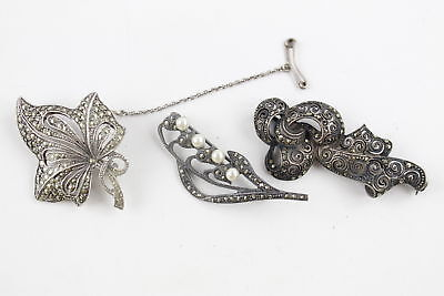 3 x True Vintage .925 Sterling Silver MARCASITE BROOCHES inc Floral Motifs (22g)