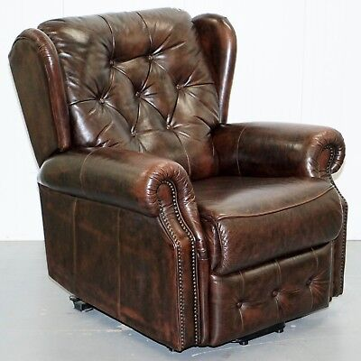 Brown Leather Chesterfield Armchair Was A Recliner But Now A Normal Armchair