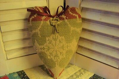 ANTIQUE 1830 WOVEN COVERLET HEART PILLOW with KEY~ VALENTINE GIFT OR KEEPSAKE