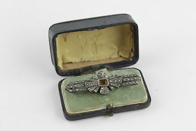 True Vintage .925 Sterling Silver MARCASITE BAR BROOCH Boxed (9g)