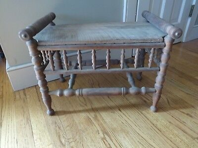 Redo Antique English Bobbin Barley Twist Bench Stool Mission Oak Arts & Crafts