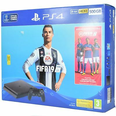 Sony Playstation 4 - Slim 500GB PS4 Jet Black - FIFA 19 BUNDLE Sony Console - UK