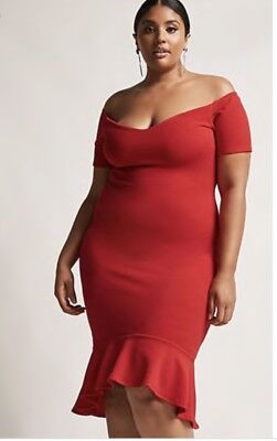 FOREVER 21 BY Pink Clove Plus Size Red Bodycon Dress Ruffled Hem ...