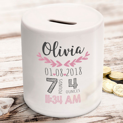 Personalised baby girl new arrival birth details children newborn gift money box