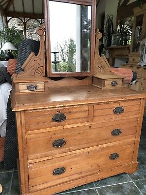 Vintage Old Pitch Pine Dressing Table For Refurbishment