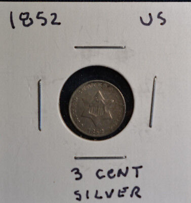 1852 3 Cent Silver Coin Very Fine Condition