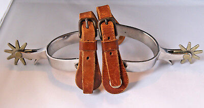 Vintage CROCKETT STAINLESS STEEL  SPURS with LEATHER STRAPS Marked