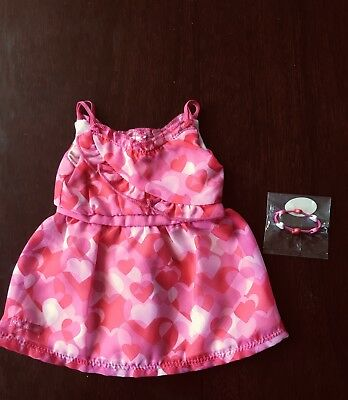 NWOT American Girl Truly Me Red Hearts Ruffle Dress And Heart Bracelet Pink Red