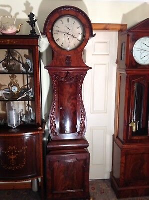 Highly Decorative Scottish Drumhead Longcase Clock 19th Century