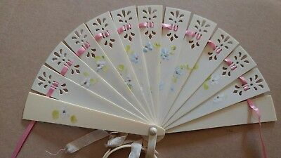 Vintage Hand Painted 13 blade Celluloid Small Folding Hand Fan w Tassel