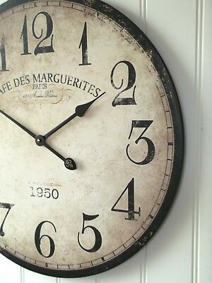EXTRA LARGE 60cm ANTIQUE FRENCH VINTAGE STYLE WALL CLOCK SHABBY CHIC NEW & BOXED