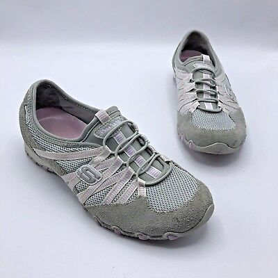 Skechers Womens 9 Med Bikers Hot Ticket Slip On Shoes White Silver 21159 Leather