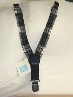NEW JANIE AND JACK Special Occasion Holiday Plaid Blue Green Suspenders 0 3 6 m