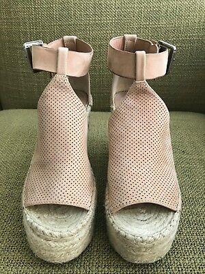 f870606b32b0 Marc Fisher LTD Annie Perforated Espadrille Platform Wedge - Pink - Size 6