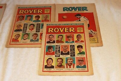 3  THE  ROVER  COMICS   1969/70's.....STRONG  SPINES