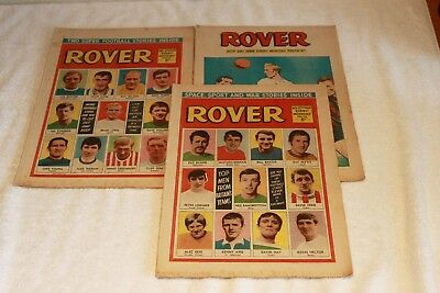 3  The  Rover  Comics   1969.....strong  Spines