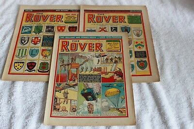 3  More  The  Rover  Comics   1955.....strong  Spines