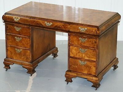 Extremely Rare Regency Circa 1815 Solid Burr Walnut Curved Twin Pedestal Desk