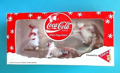 1995, Coca-Cola Brand Polar Bear PVC Figurines Gift Set, NEW in Original Box,NIB
