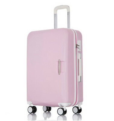 D907 Pink Lock ABS Universal Wheel Business Travel Suitcase Luggage 24 Inches W