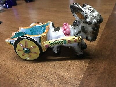 """Vintage Pottery Donkey and Cart Planter Great succulent planter. 8""""x4"""""""